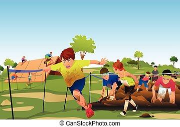 子供, 競争, コース, 動くこと, 障害, 競争