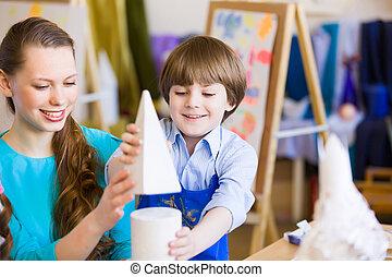 子供, 絵, ∥で∥, 教師