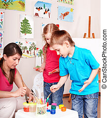 子供, 絵, ∥で∥, teacher.