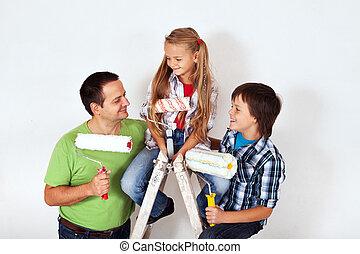 子供, 絵, はしご, 父, ローラーをペイントしなさい