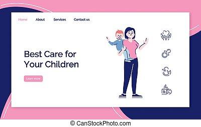 子供, 網, web ページ, ページ, 平ら, ウェブサイト, インターフェイス, layout., 概念, ...