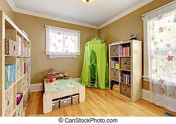 子供, 緑, 部屋, テント