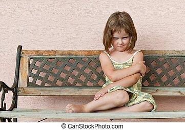 子供, 肖像画, -, おこらせている