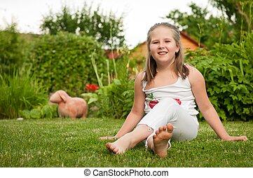 子供, 肖像画, -, 屋外で