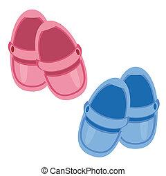 子供, 背景, 靴, 白
