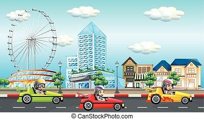 子供, 自動車, 現場, レース, 乗馬, 道