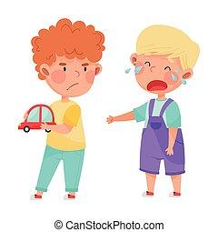 子供, 自動車, agemate, 叫ぶこと, 敵対的である, おもちゃ, 怒る, ベクトル, 離れて, しかめっ面をしなさい, 取得, イラスト, 彼の
