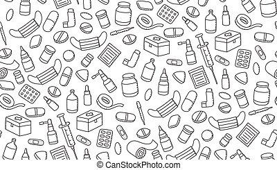 子供, 色, パターン, 隔離された, イラスト, seamless, 装置, セット, 黒い背景, 薬, 白, 手, 図画