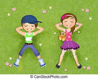 子供, 芝生の上に横たわる