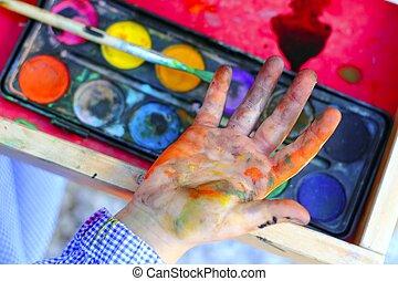 子供, 芸術家, 絵, ブラシ, 手