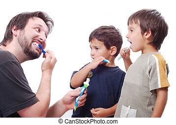 子供, 若い, いかに, きれいにしなさい, 歯, 教授, 人