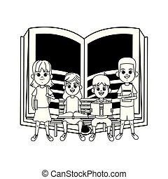 子供, 若い, ベンチ, 本, 黒, 白