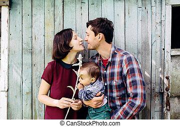子供, 若い 家族, 自然