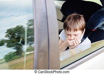 子供, 苦しむ, から, 動き, 病気, 自動車で