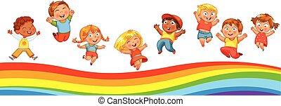 子供, 虹, のように, トランポリンの跳躍
