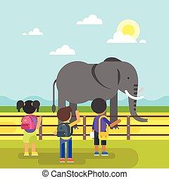 子供, 訪問, 動物園