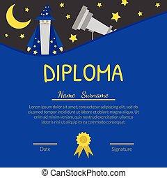 子供, 証明書, カラフルである, 卒業証書, テキスト, あなたの, 幼稚園, 天文学者, ベクトル, 場所, イラスト, テンプレート, 幼稚園, 子供, 望遠鏡