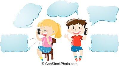 子供, 話し, 電話, スピーチ, テンプレート, 泡