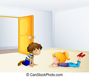 子供, 談笑する, 中, a, 部屋