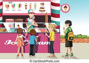 子供, 購入, アイスクリーム