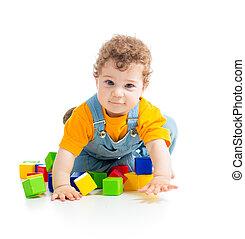 子供, 遊び, おもちゃのブロック, 隔離された, 白, 背景