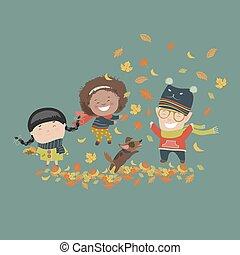 子供, 遊び, ∥で∥, 紅葉