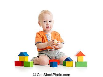 子供, 遊び, ブロック, おもちゃ