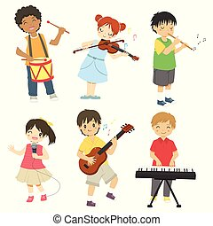 子供, 遊び, ベクトル, セット, 音楽
