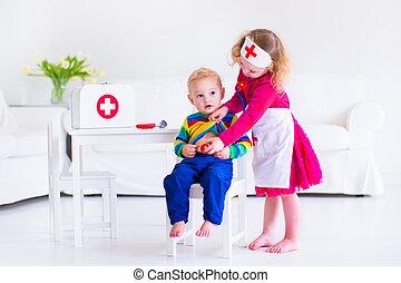 子供, 遊び, 医者