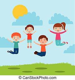 子供, 遊び, 漫画
