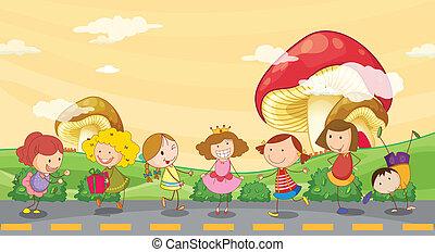 子供, 遊び, 路傍