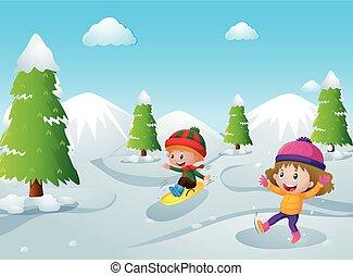子供, 遊び, 雪, 2