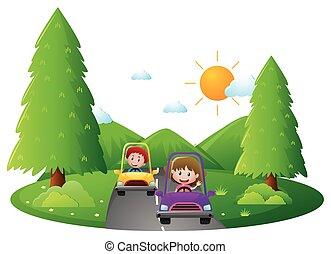 子供, 運転, 道