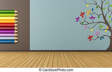 子供, 部屋, 空, カラフルである