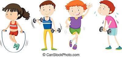 子供, 重量, セット, 訓練