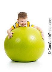 子供, 隔離された, ボール, 楽しみ, 持つこと, 体操
