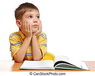 子供, 隔離された, 本, 背景, 夢を見ること, 白, 読書