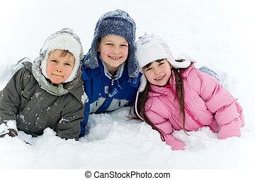 子供, 雪, 幸せ