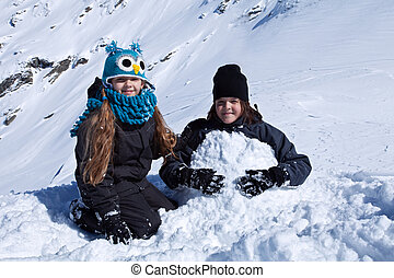 子供, 雪, 遊び