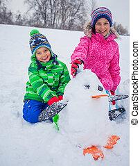 子供, 雪, plaing