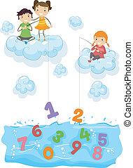 子供, 雲, 釣り, 海, 数