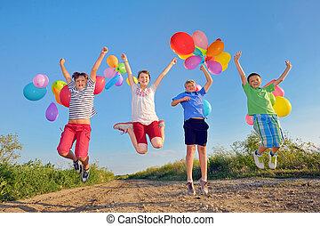 子供, 風船, 遊び