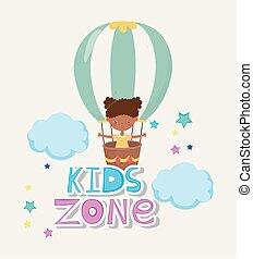 子供, 飛行, 女の子, 空気, 地域, かわいい, 暑い, わずかしか, balloon