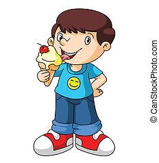 子供, 食べなさい, アイスクリーム