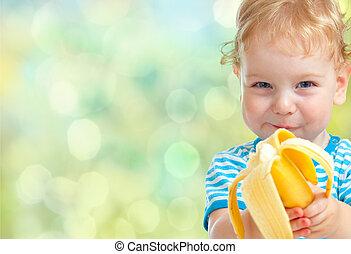 子供, 食べること, バナナ
