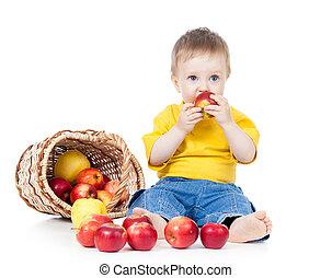 子供, 食べること, 健康に良い食物, アップル