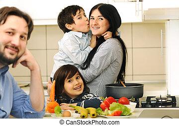 子供, 食事, 一緒に, 準備しなさい, 母