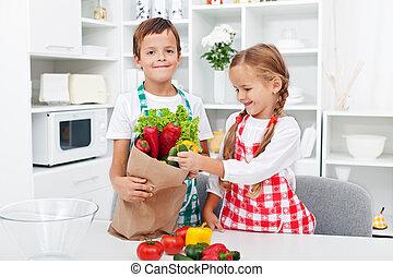 子供, 食料雑貨, 荷を解くこと