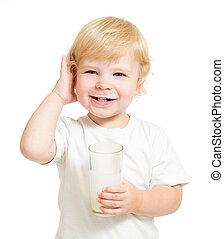 子供, 飲むこと, 乳製品, から, ガラス, 隔離された, 白