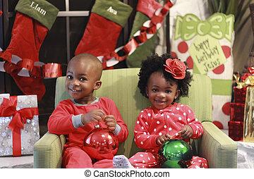 子供, 黒, クリスマス, 写真
